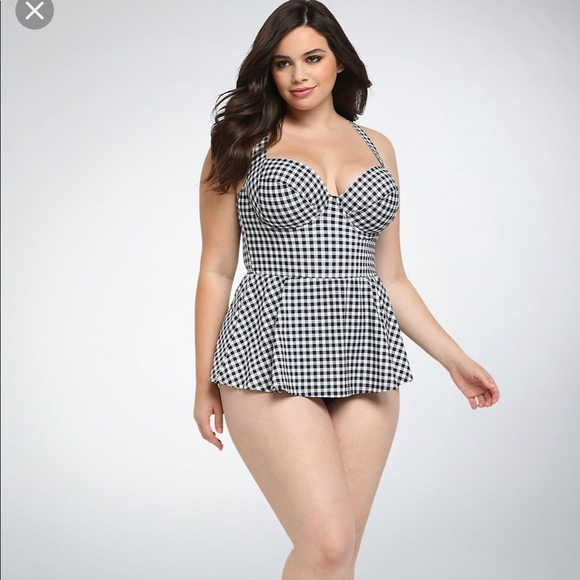 c8c93d2f5e Torrid Gingham One Piece Skirt Swimsuit. M_5ca3b1d5264a5546a30097f7
